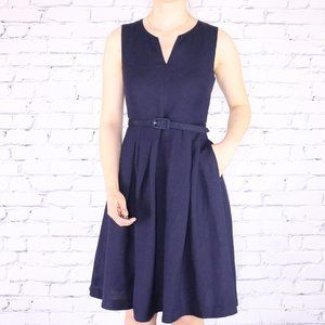 NWT Karl Lagerfeld navy a-line belted dress c1